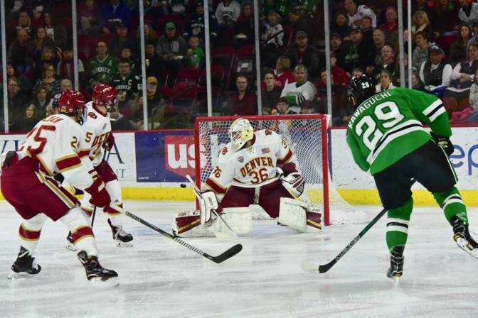 The Denver-North Dakota rivalry from between the pipes